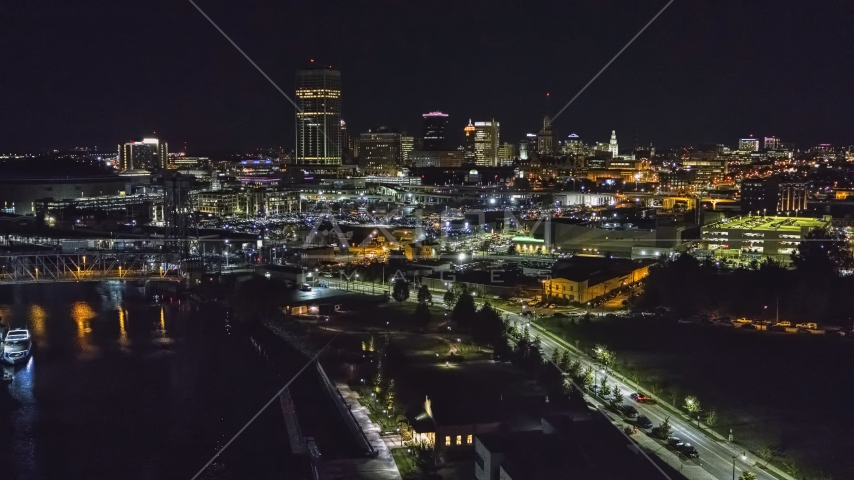 The skyline seen from the river at night, Downtown Buffalo, New York Aerial Stock Photos | DXP002_205_0003