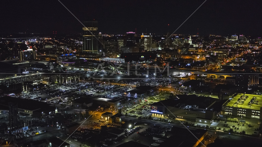 The skyline near arena parking lots at night, Downtown Buffalo, New York Aerial Stock Photos | DXP002_205_0004