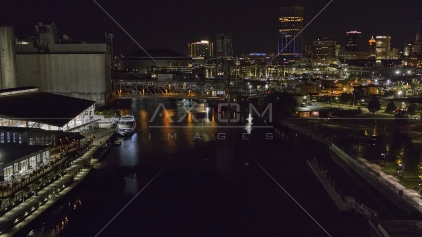 The river toward the downtown skyline at night, Downtown Buffalo, New York Aerial Stock Photo DXP002_205_0005 | Axiom Images