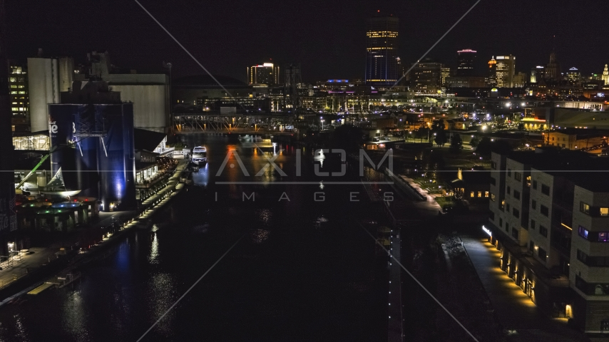 A view of the river toward the downtown skyline at night, Downtown Buffalo, New York Aerial Stock Photos | DXP002_205_0006