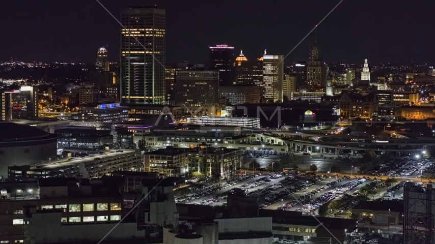The skyline seen from parking lots at night, Downtown Buffalo, New York Aerial Stock Photo DXP002_205_0007 | Axiom Images