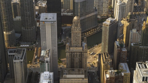 AX0001_116.0000090F - Aerial stock photo of The Kemper Building and 35 East Wacker in Downtown Chicago, Illinois