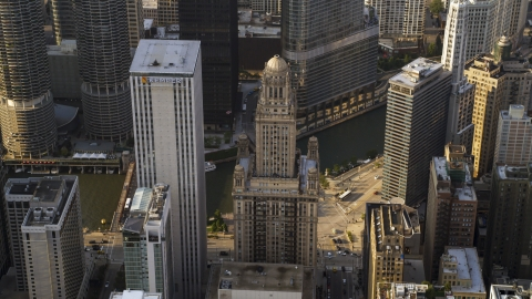 AX0001_116.0000156F - Aerial stock photo of The Kemper Building and 35 East Wacker skyscrapers in Downtown Chicago, Illinois