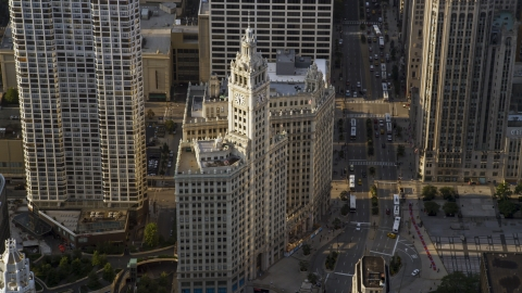 AX0001_117.0000187F - Aerial stock photo of A view of the Wrigley Building in Downtown Chicago, Illinois