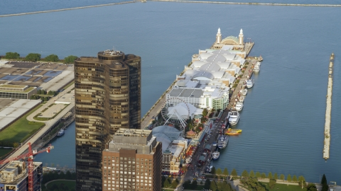 AX0001_119.0000003F - Aerial stock photo of Lake Point Tower and Navy Pier in Downtown Chicago, Illinois