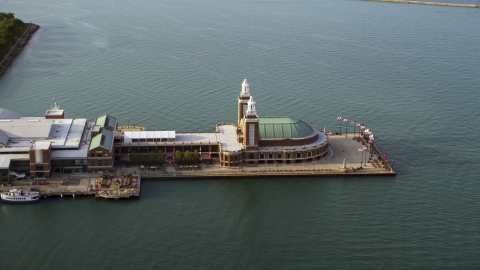 AX0001_123.0000073F - Aerial stock photo of The end of the Navy Pier on Lake Michigan, Chicago, Illinois