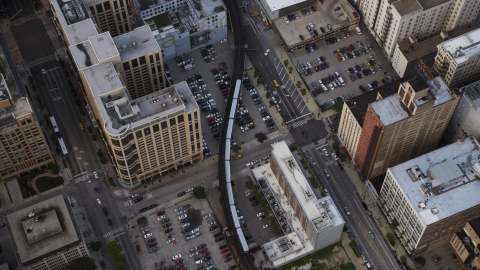AX0001_145.0000214F - Aerial stock photo of An L Train in Downtown Chicago, Illinois
