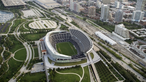 AX0001_152.0000091F - Aerial stock photo of The empty Soldier Field football stadium, Chicago, Illinois