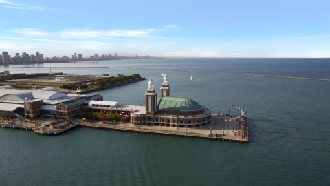 AX0002_045.0000147F - Aerial stock photo of The end of Navy Pier in Chicago, Illinois