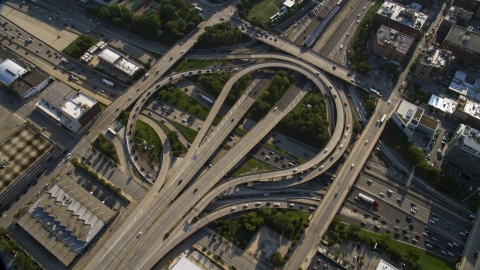 AX0002_058.0000174F - Aerial stock photo of The Circle Interchange in West Chicago, Illinois