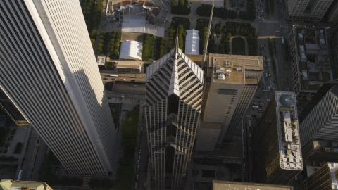 AX0002_079.0000137F - Aerial stock photo of The top of Two Prudential Plaza in Downtown Chicago, Illinois