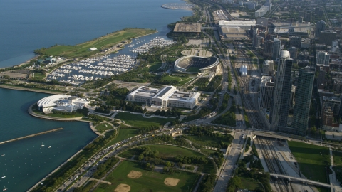 AX0002_081.0000015F - Aerial stock photo of The Shedd Aquarium, Field Museum of Natural History, and Soldier Field, Chicago, Illinois