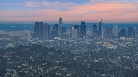 AX0158_005.0000601 - Aerial stock photo of Downtown Los Angeles skyline at twilight, California