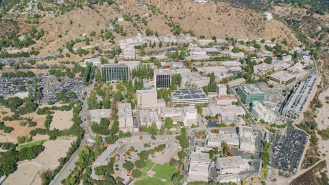 AX0159_070.0000194 - Aerial stock photo of The Jet Propulsion Laboratory campus, Pasadena, California