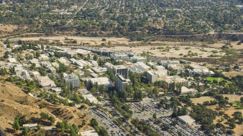AX0159_072.0000384 - Aerial stock photo of The research and development center, JPL, Pasadena, California