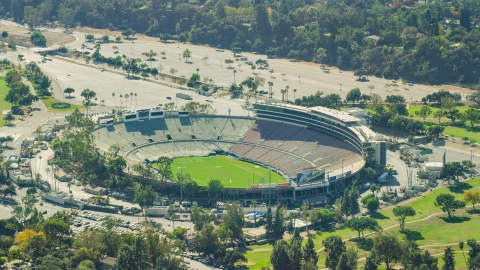 AX0159_087.0000171 - Aerial stock photo of The Rose Bowl Stadium in Pasadena, California