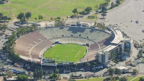 AX0159_088.0000255 - Aerial stock photo of The Rose Bowl Stadium football field in Pasadena, California