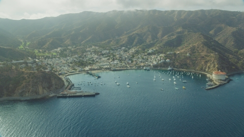 AX0159_256.0000300 - Aerial stock photo of Avalon Bay and the town of Avalon, Catalina Island, California