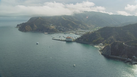 AX0159_260.0000408 - Aerial stock photo of The harbor and the island town of Avalon, Santa Catalina Island, California