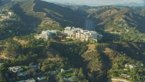 AX0161_088.0000080 - Aerial stock photo of Getty Museum, on a hilltop in Brentwood, California