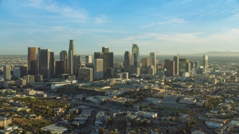 AX0162_002.0000293 - Aerial stock photo of The skyline in Downtown Los Angeles, California