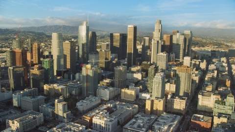 AX0162_007.0000399 - Aerial stock photo of A view of tall skyscrapers in Downtown Los Angeles, California