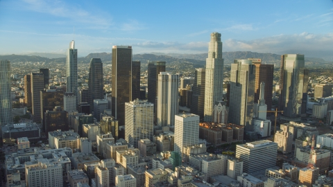 AX0162_008.0000346 - Aerial stock photo of The giant skyscrapers of Downtown Los Angeles, California