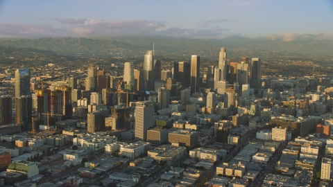 AX0162_065.0000110 - Aerial stock photo of Towering skyscrapers and high-rises in Downtown Los Angeles, California
