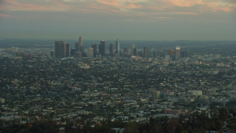 AX0162_106.0000414 - Aerial stock photo of The skyline of Downtown Los Angeles, California at twilight