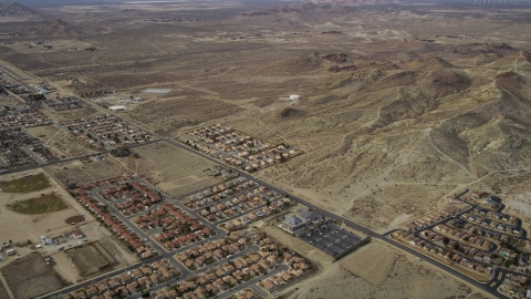 AX06_100.0000180 - Aerial stock photo of A view of desert residential neighborhoods in Rosamond, California