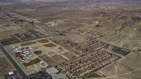 AX06_101.0000002 - Aerial stock photo of Small desert neighborhoods in Rosamond, California