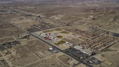 AX06_101.0000167 - Aerial stock photo of Homes in desert neighborhoods in Rosamond, California