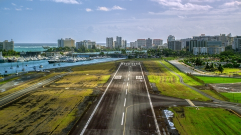 AX101_001.0000193F - Aerial stock photo of The airport runway on Isla Grande Airport, San Juan, Puerto Rico