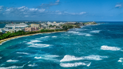 AX101_007.0000000F - Aerial stock photo of Island coastline in the Caribbean, San Juan, Puerto Rico