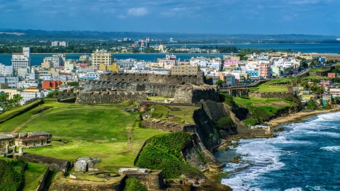 AX101_009.0000000F - Aerial stock photo of Historic fort on a Caribbean island in Old San Juan, Puerto Rico