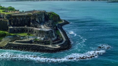 AX101_013.0000000F - Aerial stock photo of Historic coastal fort in the Caribbean, Old San Juan, Puerto Rico