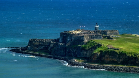AX101_019.0000000F - Aerial stock photo of Historic Castillo San Felipe del Morro in Old San Juan, Puerto Rico