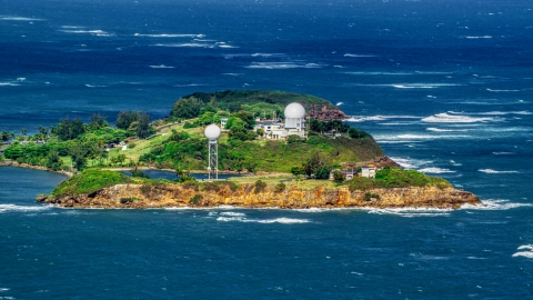 AX101_027.0000000F - Aerial stock photo of Punta Salinas Radar Site in Toa Baja, Puerto Rico