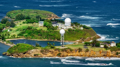 AX101_028.0000000F - Aerial stock photo of Punta Salinas Radar Site on a Caribbean island, Toa Baja, Puerto Rico