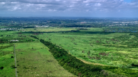 AX101_030.0000000F - Aerial stock photo of Lush green grassland, Toa Baja, Puerto Rico