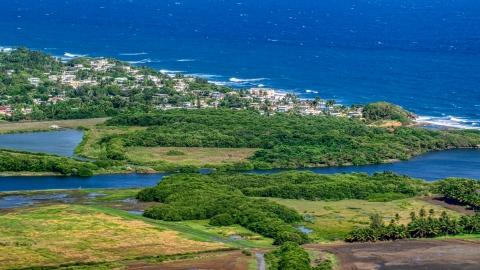 AX101_032.0000227F - Aerial stock photo of Resort town along the blue Caribbean coastal waters, Dorado, Puerto Rico