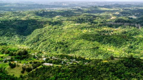 AX101_040.0000000F - Aerial stock photo of Tree covered hills and rural homes in Vega Baja, Puerto Rico