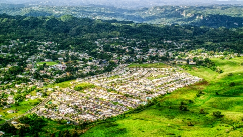AX101_044.0000000F - Aerial stock photo of Small town neighborhoods, Morovis, Puerto Rico