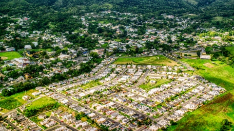 AX101_044.0000172F - Aerial stock photo of Neighborhood in a small town, Morovis, Puerto Rico