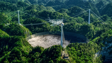 AX101_097.0000000F - Aerial stock photo of A view of the Arecibo Observatory surrounded by trees, Puerto Rico