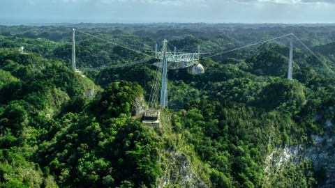 AX101_111.0000000F - Aerial stock photo of Top of Arecibo Observatory rising about karst mountains, Puerto Rico