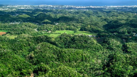 AX101_128.0000000F - Aerial stock photo of Tree covered hills and rural homes near the coast, Arecibo, Puerto Rico