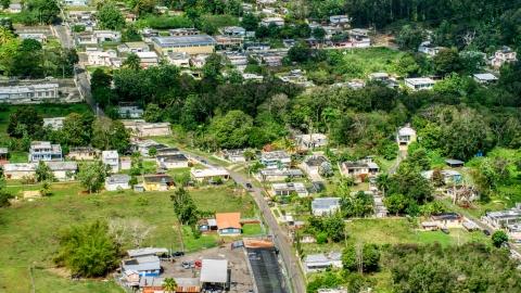 AX101_131.0000000F - Aerial stock photo of Rural neighborhood with trees, Arecibo, Puerto Rico