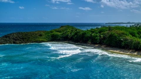 AX101_154.0000043F - Aerial stock photo of Waves rolling in toward the tree-lined coast of Arecibo, Puerto Rico