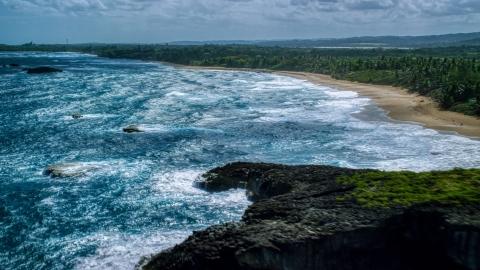 AX101_155.0000000F - Aerial stock photo of Waves rolling toward the beach and tree-lined Caribbean coast, Arecibo, Puerto Rico